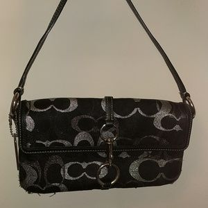 Black and silver Coach party purse